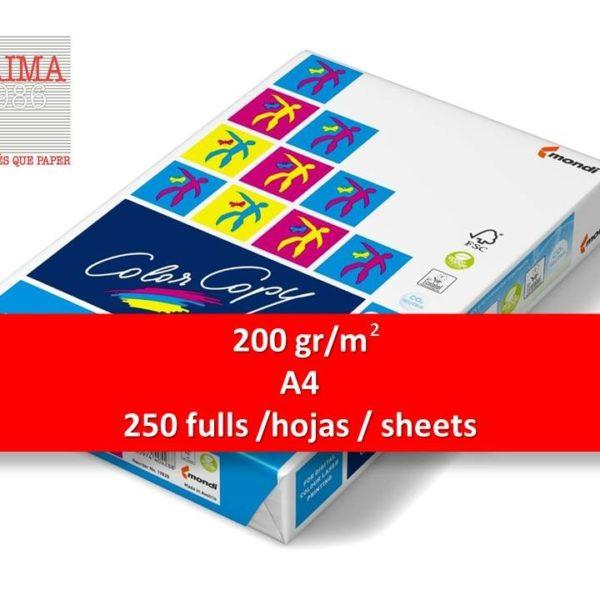 PAPER COLOR COPY A4 250 FULLS 200 gr/m2