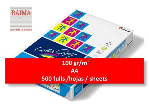 PAPER COLOR COPYA4 500 FULLS 100 gr/m2