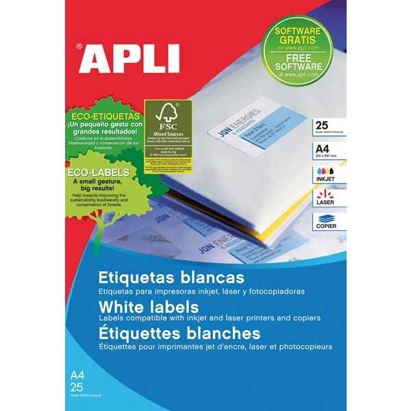 PAPER ETIQUETA ADH BLANCA FULLS 25  A4