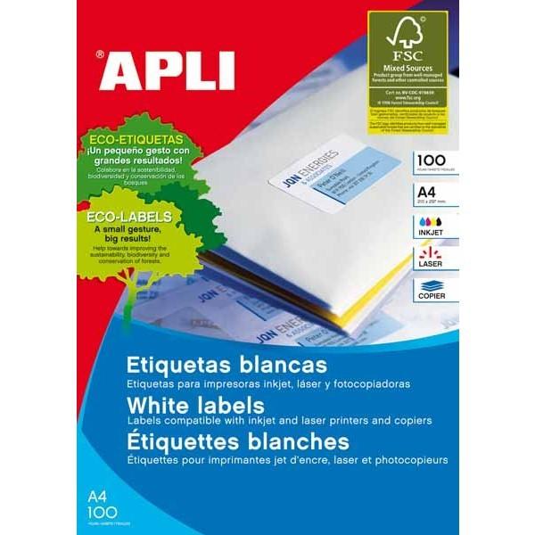 PAPER ETIQUETA ADH BLANCA 100 FULLS A4