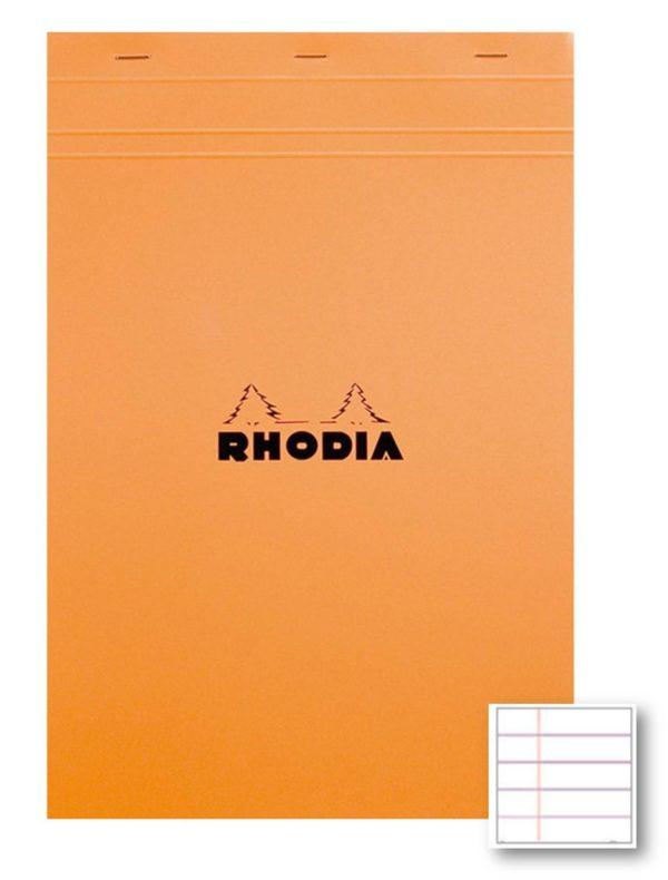 BLOC RHODIA Nº18 A4 RATLLAT 80G TARONJA