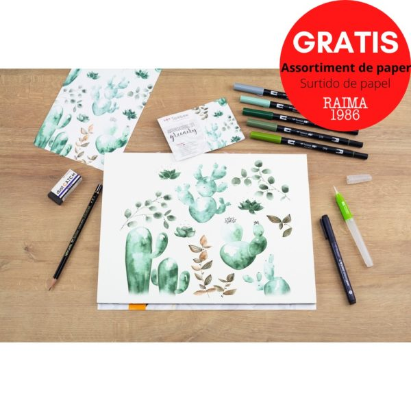 SET WATERCOLORING GREENERY