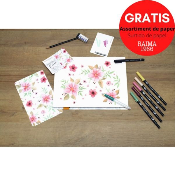 SET WATERCOLORING FLORAL